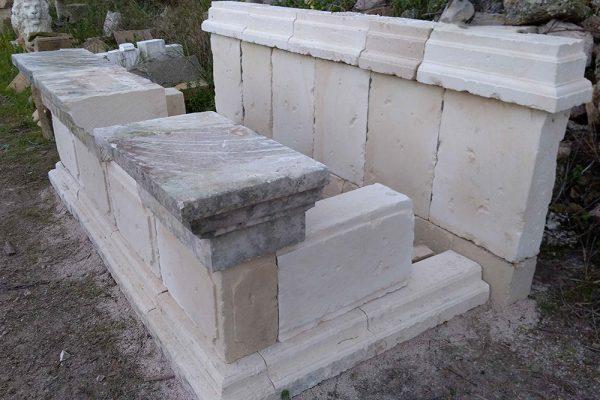 Manfio fontana a parete in pietra scolpita a mano